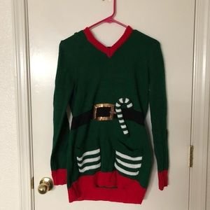 Christmas sweater with decorated hood
